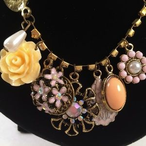 NEW Charm Necklace Rose Rhinestones Bling